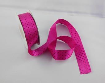 Width 25 mm black dots fuchsia color satin ribbon