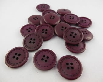 Burgundy red color plastic button