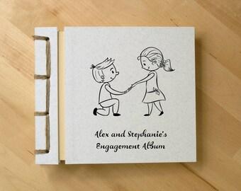 Personalized Engagement Photo Album, Handmade Wedding / Anniversary Scrapbook, Romantic Cute Cartoon Drawing, Love Couple