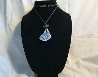 Pottery and Beach Glass Necklace