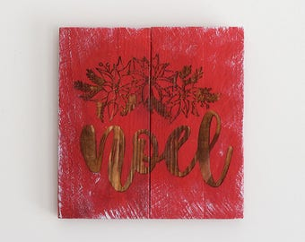 Engraved Pallet Wood Sign- Noel | Holly | Gift | Merry Christmas | Holiday | Religious | Home Decor | Wall Hanging | Rustic | Recycled