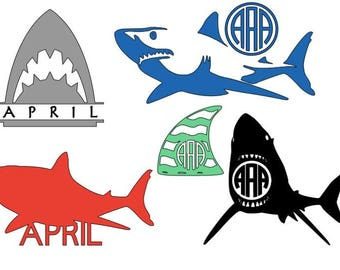 Shark monogram silhouette svg, pdf, png, jpg