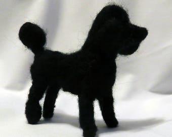 Needle Felted Black Poodle