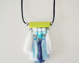 Blue ombre tassel necklace