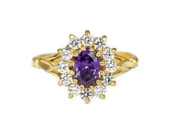 Amethyst and Diamond Gemstone Cluster Ring