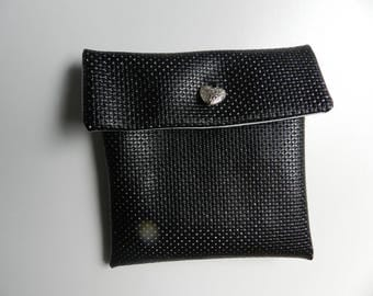 Square faux leather black rhinestones for jewelry or accessories pouch