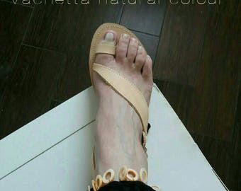 Natural colour leather sandals with mother of pearl on a hand crocheted anklet