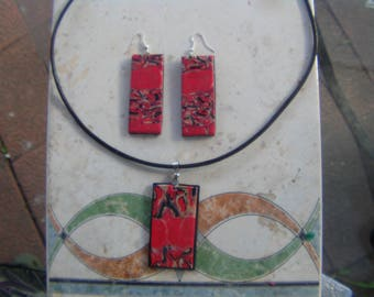 set in polymer clay necklace and earrings