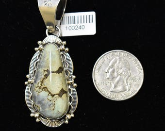 Sterling Silver Pendant with Demoli Turquoise by Mary Ann Spencer, Navajo SS NM