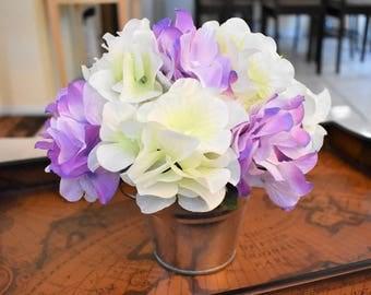 Flower Arrangement, Purple & White Hydrangeas, Silver Bucket, Shabby Chic, Faux Flowers