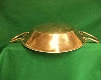 French copper vintage gratin, roasting or pie pan refurbished with new tin lining 31cm (ref 241E)