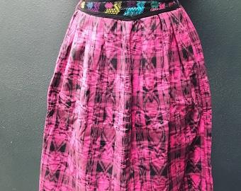 Pink handwoven guatemalan skirt. Unique colorway!!