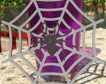 "HALLOWEEN COASTER ""Cobweb"" handpainted wooden"