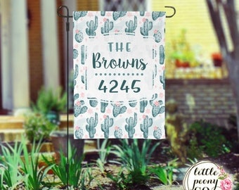 Personalized Garden Flag - Cactus and Floral Print Custom Yard Flag
