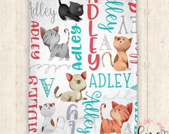 Personalized Baby Blanket - Personalized Blanket - Kitten Blanket - Name Blanket - Kitten - Cat - Name Blanket