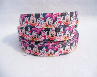 """Mickey Mouse & Minnie Mouse from Disney on White 7/8"""" Grosgrain Ribbon by the yard. Choose between 3/5/10 yards."""