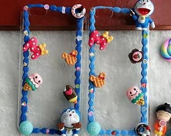 100% Handmade Doraemon Kawaii Decoden Whipped Cream Phone Case, 3D Frame Anime Cartoon IPhone plus Samsung Galaxy Phone Cover