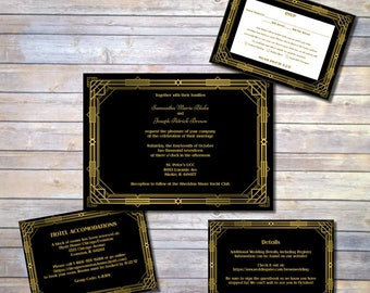Roaring Twenties Wedding Invitation Suite, Gatsby Wedding Invite, Roaring 20s Invite, Template, Printable, Wedding Invitation PDF