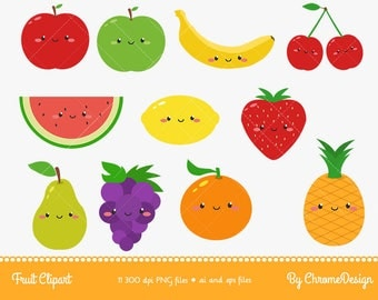 Cute Fruits Cartoon Clipart - Instant Download!