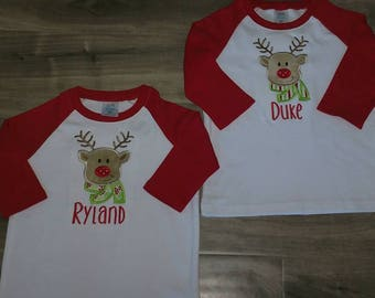 Boys personalized Raglan Christmas Shirt