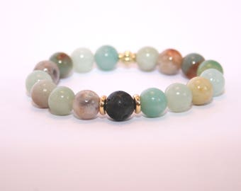 Children's - Small - Natural Stone Diffuser Bracelet - Stretch - Lava Stone - Young Living - DoTerra - Essential Oils