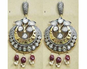 Victorian style 5. 70ctw rose cut diamonds polki sterling silver ruby pearls Statement long danglers Wedding earrings Chand Bali
