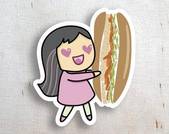 Banh Mi Love Diecut Sticker | Foodie Sticker | Nomnom Sticker | Vietnamese Sandwich Love Sticker | Sandwich Sub Sticker | Kawaii Girl