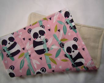 Pink Panda Travel Burp Cloth