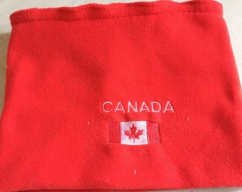 Snood collar/Choker fleece red embroidered Canada