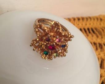 Vintage  Costume Ring Multi-color stones