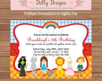 Wizard of Oz Birthday Invitation, Wizard of Oz Invitation, Wizard of Oz Birthday Invite, Wizard of Oz Invite, Dorothy Invitation