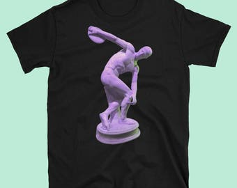 Myron's Discobolus classic sculpture fancy glitched pop art style 100% cotton t shirt in black or white colors