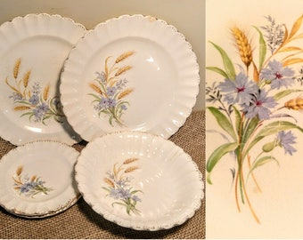 Vintage Limoges 'Wheatfield' Pattern China (5) Piece Set