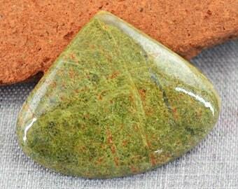 Pear Shape Blood Green Unakite cabochon gem