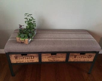 Rustic Industrial 3 Warehouse Crate Drawer-Reclaimed Repurposed Vintage Lumber & Metal Entry Bench-Farmhouse Entry Bench- Crate Furniture