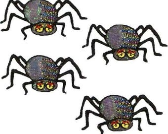 Expo Halloween Black Spiders Iron-on Applique Pack of 4