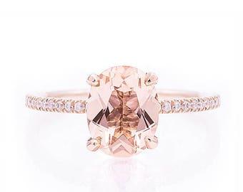 KJ5 18K Rose Gold Classic Oval Morganite and Diamond Engagement Ring