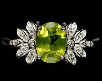 Superb silver gold plated S925 peridots and zirconium ring