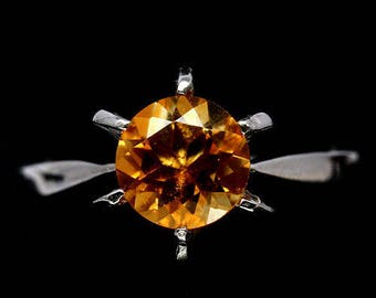 Ring in 925 silver plated white gold and Citrine