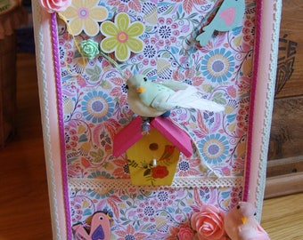 Opal and pink birds setting