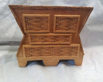 Vintage matchstick four drawer jewelry chest