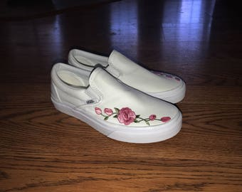 Rose Embroidered Vans