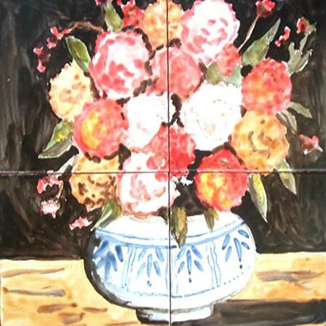 FLORAL VASE MOSAIC 4pcs - 12in x 12in Antique Looking Decorative ...