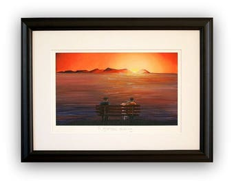 Arran oil painting print/vibrant seascape art/A4/A3/giclee seascape print/Home and office decor/Scottish sundown art/figuritive painting.