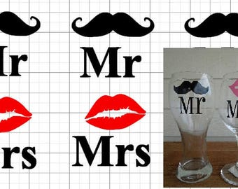 Mr & Mrs decals his and hers do it yourself on any glass gifts for couples
