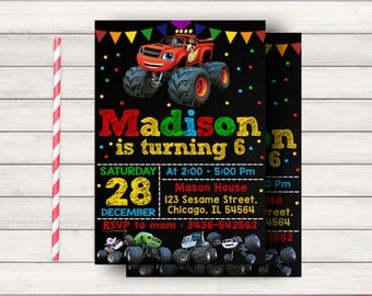 Blaze and the Monster Machines Invitations, Blaze and the Monster Machines, Blaze and the Monster Machines Party, Blaze Invitation