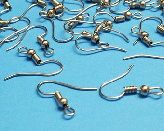 50 Pairs, Silver Earring Hooks, Silver Earrings, Dangle Earrings, Hooks, Findings, Iron Accessories, Jewelry Making, Craft Supplies, #S15
