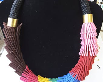 African statement handmade single thick  tube necklace multi color