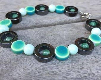 Hematite and Green Infinity Bracelet
