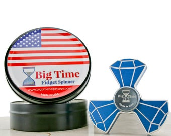 Big Time Fidget Spinner Toy - Made in the USA From Premium Metal -Perfect Stim hand tool for Autism,ADHD,ADD,Ptsd, Stress and Anxiety Relief